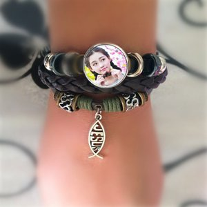 braccialetti di pelle bovina per sublimazione perline braccialetto fai da te a maglia per le donne in bianco design personalizzato materiali di consumo fai da te all'ingrosso