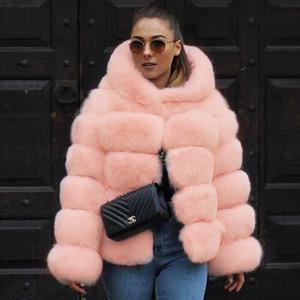 LaiPelar Fluffy Faux Piel Abrigo Mujeres Invierno Tamaño Grande Cojado Chaquetas de piel de manga larga Espesar Abrigo Cálido Invierno Mujer Outwear