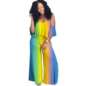 2018 Лето женщины комбинезоны Комбинезоны градиент оборками ремень стрейч наряд комбинезоны повседневная сексуальная мода бинты комбинезон