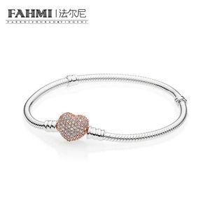 FAHMI 100% стерлингового серебра 925 пробы 1: 1 Оригинальный подлинный 586292CZ Шарм основной браслет подходит DIY бисером женщины ювелирные изделия