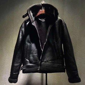 유럽 스타일의 코트 남성 옷깃 편지 로고 모피 지퍼 가죽 자켓 블랙 자켓 패션 높은 품질 코트 HFWPJK107 망