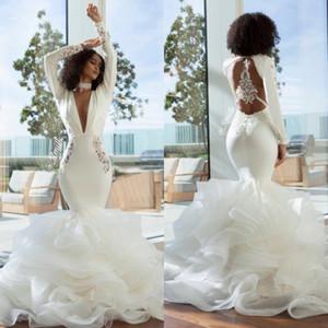 2020 V profundo Neck Bordados mangas compridas Vestidos ver através Backless Cascading Ruffles Saias Elegante Prom Vestidos