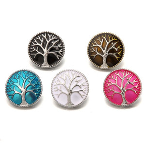Fashion Tree of Life 18mm bottone a pressione processo di smalto gioielli Noosa pezzi fai da te Ginger Snap Button Charms Bracciale collana