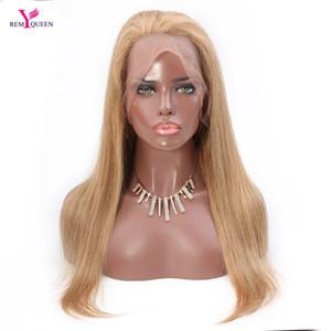 ريمي الملكة 27 # الفراولة شقراء مستقيم الدنتلة كامل 100٪ الانسان الشعر 130٪ متوسطة الكثافة Nautral منبت الشعر مع شعر الطفل ابيض عقدة