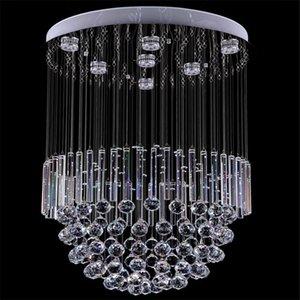 Moderner Kristalldecken-Leuchter, der runde hängende Lampe GU10 des Kristallbeleuchtungs-mit Kristallkugel-Rohr AC110-240V beleuchtet