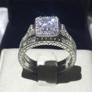 Marchio di gioielli antichi amanti Gemma 5A Zircone pietra 10KT oro bianco Filled Fidanzamento Wedding Band Ring Set formato USA 5-11 regalo