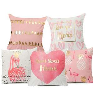 Flamingo Bronzing Funda de Cojín Sweet Home Poliéster Algodón Geométrico Rosa Impreso Home Decorativo Almohadas Funda de piel Plátano