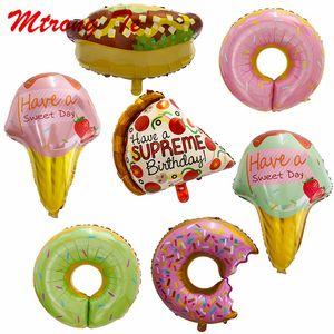 50 Stück Donuts Lollipop Pizza Eis Hot Dog Geburtstag Party Hochzeit Ballons Dekoration bestreuen Donut Folie Heliumballon