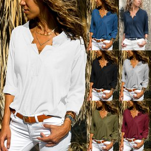 Fashion Style Sexy T-shirt Women Long Sleeve Deep V-neck Chiffon Office Lady Tank Top High Quality Blouses Female Casual crop Tops