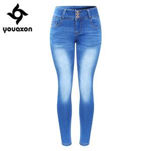 2143 Youaxon Yeni Geldi Artı boyutu Kadınlar Sıkı Five İçin Soluk Jeans Denim Skinny Pantolon Pantolon Pockets