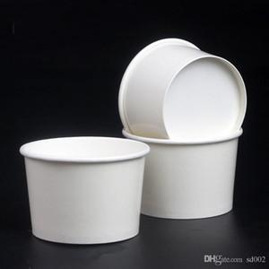 Tek kullanımlık Dondurma Kağıt Bardak Sebze Ambalaj Çanaklar Yuvarlak 4 oz Kase Tatil Parti Restoran Malzemeleri Konteyner Almak Için 170lm ZZ