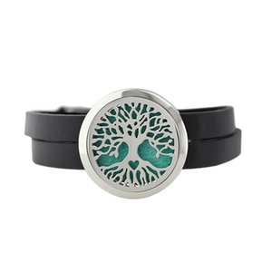 Newest 3 Styles Life Tree 30mm 316L Stainless Steel Perfume Essential Oil Locket Black Leather Bracelet With Free Replacement Pads