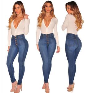 Jeans por Mulheres Long Sexy Denim Calças Skinny Esticável Botão rasgado cintura alta Jeans Punk Sexy Hot Denim Mulheres Plus Size 1800713
