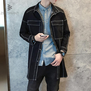 ZEESHANT New Long Jeans Denim Trench Coat Uomo Inverno Trench Coat Autunno Inverno Giacca Casual uomo Overcoat M-5XL Jacket