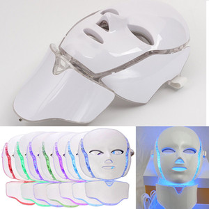 7 Color LED Facial And Neck Mask Microcurrent PDT LED Photon Face Mask Wrinkle Removal Skin Rejuvenation For Face and Neck Beauty