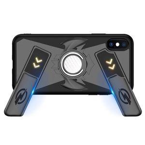 Juego de manijas del teléfono multifunción para iPhone X 8 7 6 6 S Plus cubierta de silicona suave + PC a prueba de golpes + anillo de dedo Kickstand
