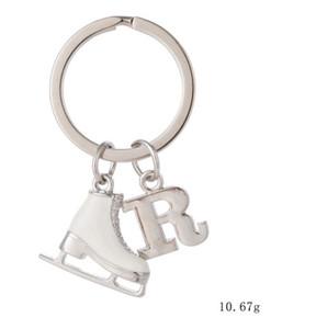 Buchstabe R Initial Schlüsselbund Weiß Emaille 3D Schlittschuh Eiskunstlauf Geschenk Schlüsselanhänger