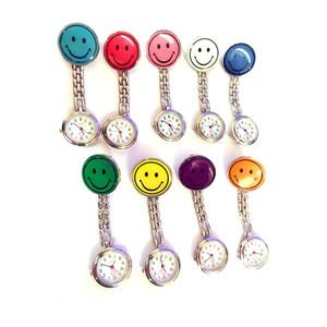 2018 venta caliente !! New Smile Face reloj de enfermera Doctor Metal Stainless Nurse Medical Clip Relojes de bolsillo multicolor para elegir DHL envío gratis