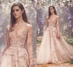 Robes de mariée arabe à manches longues 3D arabe 2018 Paolo Sebastian Dentelle Applique Princesse Jupe gonflée Country Garden