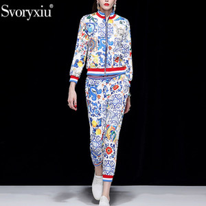 Svoryxiu 2018 Runway Autunno Inverno Moda pantaloni due pezzi Set manica lunga cappotto + pantaloni casual Painted Pottery Print Suit Suit