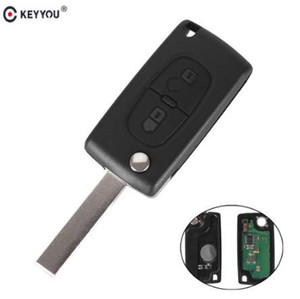 KEYYOU 2 Buttons Remote Flip Key Folding Car Key For Peugeot 207 307 308 407 433MHz PCF7961 HU83 Blade ID46 CE0536