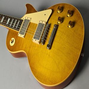 Envío libre / China guitarras color de la tienda de encargo / miel / Cuerpo de caoba / palisandro / 22 M / 6 cuerdas de mando de la guitarra eléctrica / puntero
