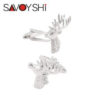 SAVOYSHI Deer Head Boutons de manchette pour hommes Chemise manchette bottons de haute qualité d'argent Boutons de manchette Cadeaux de Noël Marque Hommes Design Bijoux