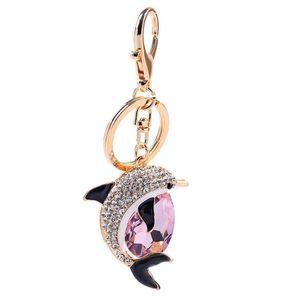 Nouvelle Mode Mignon Cristal Dauphin Porte-clés Exquis Strass Dauphin Clés De Voiture Anneaux Femme Sacs Pendentif Accessoires