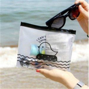 1 PCS Pollo lindo PVC semitransparente Viaje de plástico Maquillaje Cosmético Bolsos de natación Soportes para exteriores