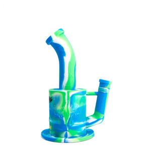 Glass Bong Platinum Cured Silicone Water Pipes Waxmaid 9 inches Dab Rigs For Wax Come With Adapter Factory Outlet DHL Free Shipping