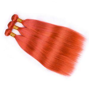 Silky droite péruvienne orange cheveux humains Weave Bundles 3Pcs Lot Virgin Hair Extensions pure Couleur Orange humaine Bundle cheveux offres
