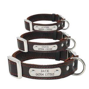 Collar Eco-Friendly Dog personalizado couro genuíno ajustável gravado Id Coleiras Anti perdido por Small Medium Large Dogs Pet