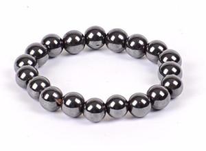 Joyería de los hombres 500pcs nuevos Hombres Mujeres Negro Cool Magnetic Pulsera Cuentas Hematite Stone Therapy Health Care Magnet Hematite Beads Pulsera