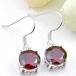 Luckyshine all'ingrosso 12Pair unica rotonde Topaz Peridot del Morganite argento gemme delle donne degli orecchini di cristallo strass orecchini gioielleria sposa 8Color