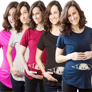 Güzel Yaz Hamile Hamilelik Tişörtlü Kadınlar Karikatür Tee Bebek Baskı Hamile Giyim bakarken Komik tişört