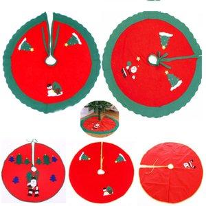 Weihnachtsbaum SKirt Dekoration für Santa Decals Schneemann Dekorationen Ornamente mit Spitze Falten Leinwand Leinen Sackleinen Home Decor HH7-1735