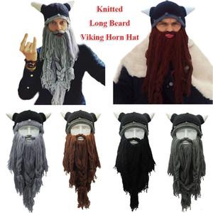 Knitted Beard Beanie horn Mask cap Handmade Barbarian Vagabond Funny Halloween Hat Chirtsmas gift Crazy Ski pirate Crochet Cap FFA950 50pcs