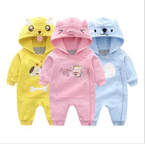 Yeni bebek elbiseler kapüşonlu elbise pembe melek domuz / sarı köpek bebek onesies yenidoğan romper tulum