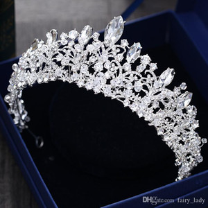 Wunderschöne Prinzessin Große Hochzeit Kronen Brautschmuck Kopfschmuck Diademe Für Frauen Silber Metall Kristall Strass Barock Haar Stirnbänder