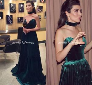 Hunter Green Elegant Evening Formal Dresses 2018 Velvet Sweet Heart Sweep tren pliegues fiesta de graduación Red Carpet Gowns túnicas de soirée