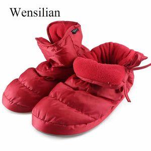 Invernali Fluffy Furry Slippers Down House Slippers Waterproof Keep Warm Scivoli di pelliccia indoor Home Scarpe Pantoffels Dames