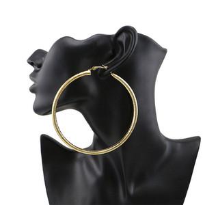 과장된 큰 철 시트 후프 귀걸이 간단한 광택 골드 도금 동그라미 Huggie 귀걸이 여성 패션 파티 보석 액세서리 도매