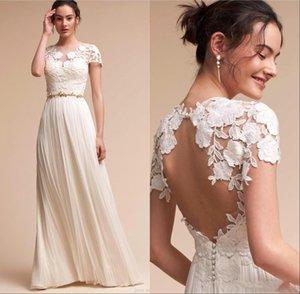 Elegante Günstige Bohemian Brautkleider mit Schärpe 2020 Sexy Backless kurzen Ärmel Hochzeit Brautkleider Strand-Chiffon- Boho-Kleid