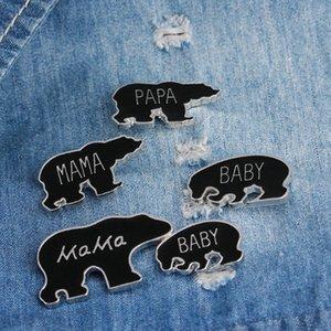 Moda Esmalte Mama Filhote de Urso Broche Pinos Botão Família Amor Animal Dos Desenhos Animados Papa Urso Broches Bebê Urso Denim Jaqueta Pin Emblema de Jóias