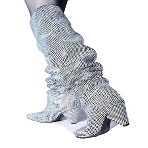 themost Hot Sale Womens Luxury Glitter Rhinestone Embellished Slouchy Pull on Knee High Boots Cone Heel Big Size