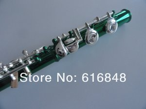 Unique Green Tube Silver Plated Key 16 Holes Closed C Tune Flute With E Key Woodwinds Instrument For Students Free Shipping