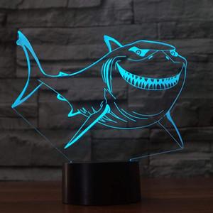 3D LED Sourire Grand Requin Blanc Nuit Lumière Tactile Table De Bureau Optique Illusion Lampes 7 Couleur Changement De Lumières De Noël Cadeau D'anniversaire