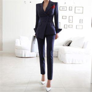 Calça Ternos 2 Peça Conjuntos Listrado Blazer Jacket Calças Para As Mulheres Senhora do Escritório Outfits Primavera Business Formal Uniforme de Desgaste do Trabalho