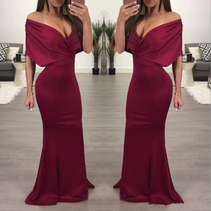 Burgundy Mermaid Prom Dresses Sexy Off Shoulder Cheap Bridesmaid Dress Plus Size Formal Evening Gowns Custom Made