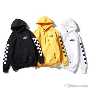 2018 Male and female Cotton Arm string checkerboard plaid hoodie Letter printed pullover Hip hop plus velvet hoodie new style
